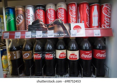 Malacca, Malaysia- August 15 2017. Coca-Cola, A&W and Sprite products for sale.