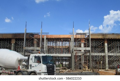MALACCA, MALAYSIA -AUGUST 22, 2017: Fabrication work of building beam form work and reinforcement bar at the construction site in Malacca, Malaysia.