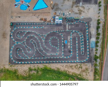 """""""Malacca, Malaysia- Circa July, 2019: Aerial footage of new go kart race track prepared for upcoming racing."""""""