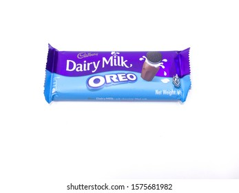 Malacca / Malaysia - December 01 2019 : A Pack of Cadbury Dairy Milk with Oreo flavour on a white background.