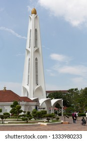 Malacca, Malaysia - December 30, 2018:Exterior view of the  Malacca Straits Mosque (Malay: Masjid Selat Melaka), a mosque located on the man-made Malacca Island in Malacca state, Malaysia