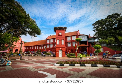 MALACCA, MALAYSIA - FEB 16: A view of Christ Church & Dutch Square on Feb 16, 2016 in Malacca, Malaysia. It was built in 1753 by Dutch & is the oldest 18th century Protestant church in Malaysia.