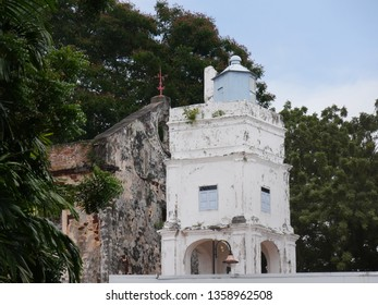 Malacca, Malaysia-- February 2018: Close up of the upper portion outside the ruins of St. Paul's Church building in Malacca City.