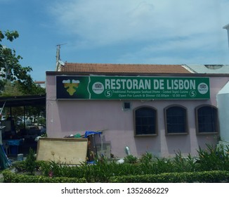 Malacca, Malaysia-- February 2018: Cropped side shot of a traditional Portugese restaurant near Portugese Square in Malacca City.