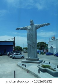 Malacca, Malaysia-- February 2018: Portrait view of the Jesus Christ Statue at the Portugese Settlement in Malacca City.