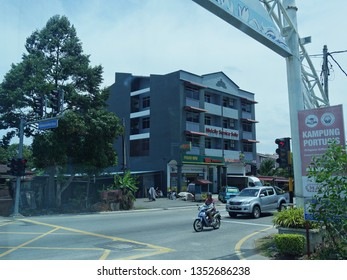 Malacca, Malaysia-- February 2018: Street view at the Portugese Settlement in Malacca City.