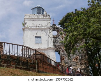 Malacca, Malaysia-- February 2018: Upward shot of the ruins of St. Paul's Church building in Malacca City.