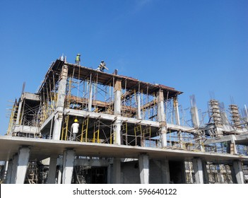 MALACCA, MALAYSIA -FEBRUARY 25, 2017: Construction site in progress at Malacca, Malaysia during daytime. Daily activity is ongoing.