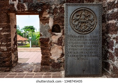 Malacca, Malaysia - February 28 2019: Historical tombstones from the former portuguese settlement in the ruins of St Paul Church