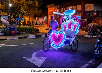 Malacca, Malaysia - February 28, 2019: Rickshaw with Hello Kitty style on the streets of Malacca