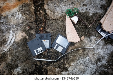 Malacca, Malaysia - February 28, 2019: Old vintage floppy disk lay on ground.