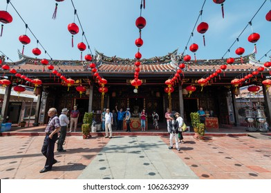 MALACCA, MALAYSIA - FEBRUARY 6, 2018: Cheng Hoong Teng temple in Malacca. Tourists are visiting the Chinese temple which is the oldest functioning temple in Malaysia.