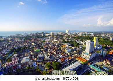 MALACCA, MALAYSIA - JAN 31, 2016 : Top view of beautiful Malacca town. Malacca has been listed as a UNESCO World Heritage Site since 7 July 2008.
