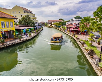MALACCA, MALAYSIA - JANUARY 15, 2016: Malacca River Cruise boat in Malacca, Malaysia. Malacca was listed as a UNESCO World Heritage Site together with George Town of Penang.