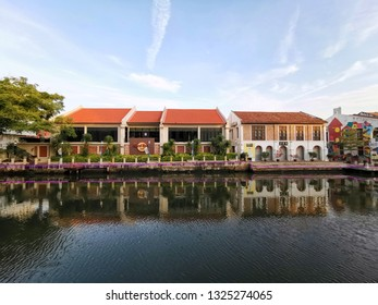 MALACCA, MALAYSIA - January 23: Hard Rock Cafe city along Melaka river on Jan 23, 2019 in Malacca, Malaysia. Malacca has been listed as a UNESCO World Heritage Site since 7 July 2008. - Image