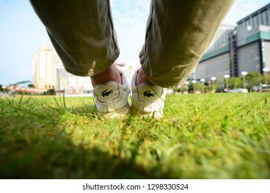 Malacca, Malaysia - January 29 2019. Close up back of Lacoste white shoes.