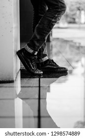 Malacca, Malaysia - January 29 2019. A people is wearing black Vans shoes pair with jeans trousers.