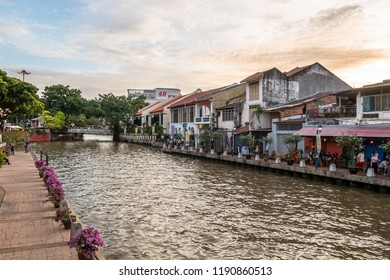Malacca, Malaysia - July 15,2017 : Landscape of the Malacca River. Malacca has been listed as a UNESCO World Heritage Site since 7 July 2008. People can seen exploring around it.