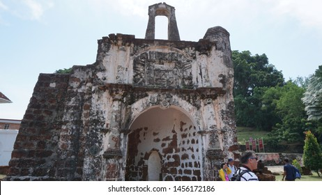 Malacca, Malaysia: July 19th, 2019: A Famosa is a former Portuguese fortress located in Malacca, Malaysia. It is among the oldest surviving European architectural remains in Southeast Asia.