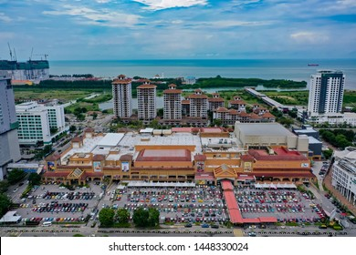 Malacca, Malaysia - July 7 2019: Aerial View Of Biggest Shopping Mall In Malacca City With Ocean View, The Mahkota Parade Is A Shopping Mall In Malacca City, Malaysia
