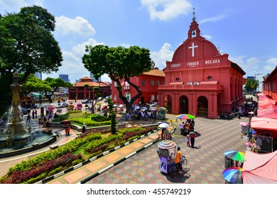 MALACCA, MALAYSIA - JULY 9, 2016: Christ Church & Dutch Square in Malacca City, Malaysia. It was built in 1753 by Dutch & is the oldest 18th century Protestant church in Malaysia.