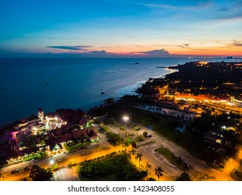 """Malacca, Malaysia - June 2019. Aerial view of """"Medan Selera Ikan Klasik Terapung Umbai"""". a floating restaurant which is popular among locals and tourist to enjoy seafood with beautiful views"""