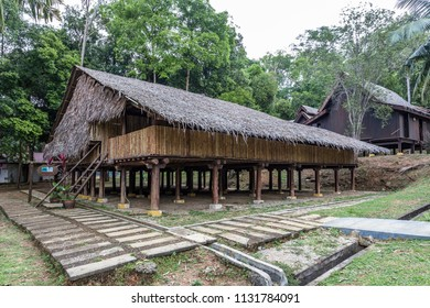 Malacca, Malaysia - June 25, 2018 : The Sabah longhouse at the Mini Malaysia Park.