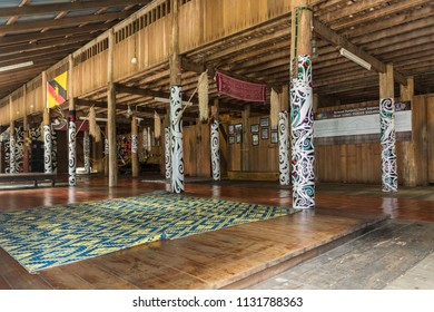 Malacca, Malaysia - June 25, 2018 : Interior view of a traditional Iban longhouse from Sarawak at the Mini Malaysia Park.