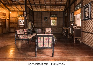 Malacca, Malaysia - June 25,  2018 : Interior view of Perlis style traditional malay house at the Mini Malaysia Park.