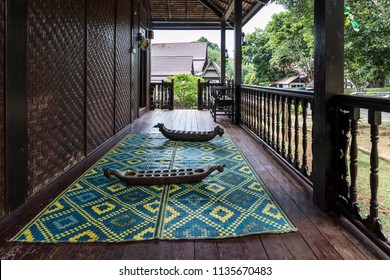 Malacca, Malaysia - June 25, 2018 : View of verandah of a Perlis style traditional malay house at the Mini Malaysia Park.