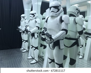 MALACCA, MALAYSIA - JUNE 30 2017 : Star Wars is an American epic space opera  the adventures of various characters. Star Wars ornament display at cartoon museum in Malacca.