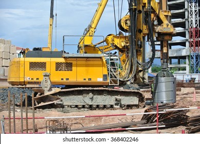 MALACCA, MALAYSIA MARCH 18, 2015: Bore pile rig machine at the construction site in Malacca, Malaysia on March 18, 2015. Used to do bore pile foundation.