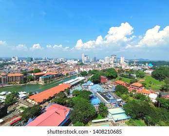 Malacca, Malaysia- May 26, 2019: Aerial view of Malacca city. Malacca City (also spelled Melaka) is the capital of the coastal state of Malacca, in southwestern Malaysia.