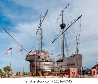 "Malacca, Malaysia  - November 27 2014: Replica of ""Flor do Mar"", a 16th century Portugese Sailing Vessel, at the Maritime Museum of Malacca."