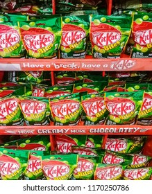 MALACCA, MALAYSIA - SEPT 2 2018: Kit Kat is a chocolate-covered wafer bar confection created by Rowntree's of York, United Kingdom, and is now produced globally by Nestlé. Kit Kat Bites - Green Tea