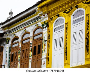 MALACCA MALAYSIA SEPTEMBER 20 2017: Old shophouse in Jonker Street in Malaysia's colorful and historic World Heritage City, Melaka