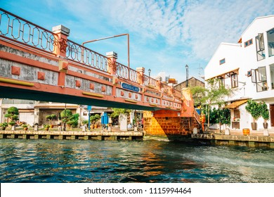 Malacca river town, Pink bridge and canal in Malaysia