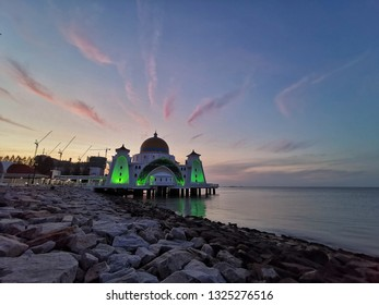 Malacca Straits Mosque during sunrise