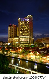 Malacca Town, Malacca/ Malaysia - 03142016: . Night scenery in Malacca city with the view of attractive hotel, The Pines and Morten Village in Malaysia. Generations of locals stay here in the village.