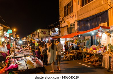 Malacca,Malaysia - April 21,2019 : The night market on Friday,Saturday and Sunday is the best part of the Jonker Street, it sells everything from tasty foods to cheap keepsakes