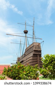 Malacca,Malaysia -April 21,2019: People can seen exploring around the Maritime Museum Malacca. The museum main exhibits the replica of Flor de la Mar.