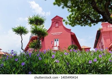 Malacca,Malaysia - April 21,2019: Scenic view of the Christ Church Malacca and Melaka Art Gallery. It has been listed as UNESCO World Heritage Site since 7/7/2008.