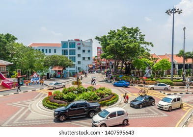 Malacca,Malaysia - April 21,2019 : Scenic view of the Malacca City,people can seen exploring around it. It has been listed as UNESCO World Heritage Site since 7/7/2008.
