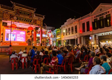 Malacca,Malaysia - April 21,2019 : There are a singing show at the Jonker Street. Jonker Street is the night market that sells everything from tasty foods to cheap keepsakes.