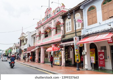 Malacca,Malaysia - April 22,2019 : Jonker Street is the centre street of Chinatown in Malacca. It was listed as a UNESCO World Heritage Site on 7 July 2008. People can seen exploring around it.