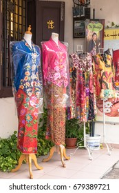 Malacca,Malaysia - July 15,2017 : There are some different style of nyonya costumes selling at Jonker Street,Malacca.