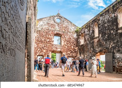 Malacca,Malaysia - July 16, 2017 : Scene of St Paul's Church in Malacca. The church is listed as UNESCO World Heritage.People can seen exploring around the St Paul s Church in Malacca