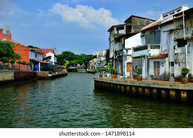 Malacca,Malaysia. July 28, 2019: Unique scene  along Malacca river front. It has been designated a world heritage city for its cultural heritage.