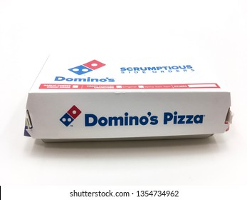 Malacca/Malaysia - March 31 2019 : Domino's Pizza Box on on white background
