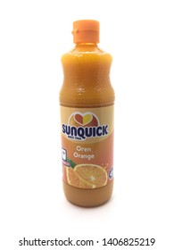 Malacca/Malaysia - May 25 2019 : A bottle of Sunquick brand of concentrated oranges flavor juices isolated on white background.